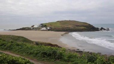 Burgh Island Devon England UK near seaside village of Bigbury-on-Sea and Challaborough — Stock Video