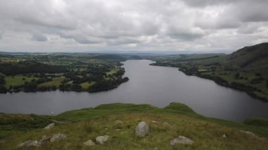 High view of Ullswater Lake District Cumbria England UK from Hallin Fell in summer — Стоковое видео