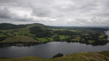 PAN Elevated view of Ullswater Lake District Cumbria England UK from Hallin Fell in summer — Stock Video