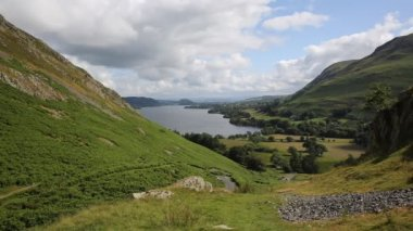 Elevated view of Ullswater Lake District Cumbria England UK from Hallin Fell in summer — Stock Video