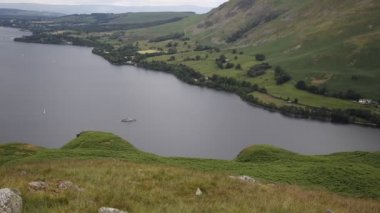 Steamer boat Ullswater Lake District Cumbria England UK from Hallin Fell in summer — Stock Video