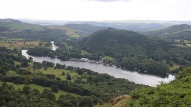 Elevated view of Windermere Lake District England uk from Gummers How — Stock Video