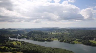 Elevated view of Windermere Lake District England uk from Gummers How with boat sailing in summer — Stock Video