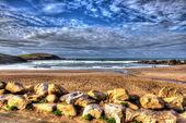 Challaborough South Devon England uk popular surfing beach near Burgh Island and Bigbury-on-sea on the south west coast path in vivid colourful HDR — Stock Photo