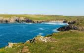 Porth Joke beach next to Crantock bay Cornwall England UK near Newquay and on South West Coast Path also known as Polly Joke in spring with blue sea and sky — Stock Photo
