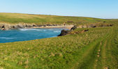 South West Coast Path Porth Joke beach by Crantock bay Cornwall England UK near Newquay also known as Polly Joke in spring with blue sea and sky — Stock Photo