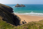 Holywell Bay Cornwall England UK near Newquay and Crantock on the South West Coast Path in spring with blue sky — Stock Photo