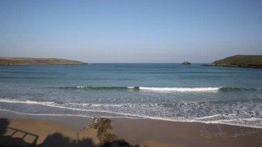 Crantock beach North Cornwall England UK with sound of sea — Stock Video