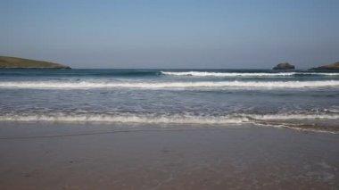 Surf and waves Crantock beach North Cornwall England UK near Newquay — Stock Video