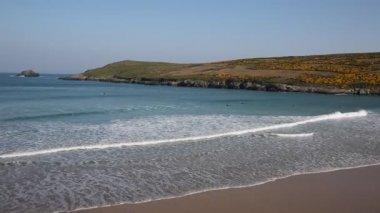 Popular Cornwall surfing beach of Crantock North Cornwall England UK near Newquay — Stock Video