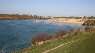 North Cornish cove Crantock bay and beach North Cornwall England UK — Stock Video