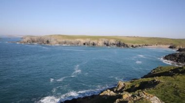 Cornwall cove Porth Joke by Crantock bay North Cornwall England UK — Stock Video