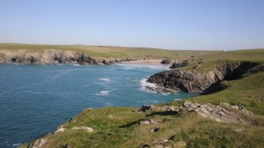 Porth Joke beach and coast next to Crantock bay Cornwall England UK near Newquay and on South West Coast Path also known as Polly Joke in spring with blue sea and sky — Stock Video