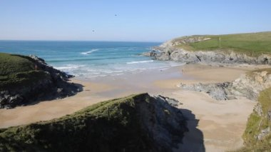 View to sea fom Porth Joke beach next to Crantock bay Cornwall England UK near Newquay and on South West Coast Path also known as Polly Joke in spring with blue sea and sky — Stock Video