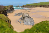 Trevone Bay Cornwall England UK near Padstow and Newquay and on the South West Coast Path in spring with blue sky and sea — Stock Photo