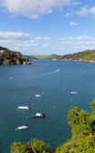 Boats and blue sea Salcombe Devon south west England UK — Stock Photo