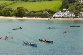Pilot gig boat rowing and racing event at Salcombe Devon England UK — Stock Photo