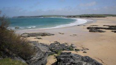 Cornish coast Harlyn Bay North Cornwall England UK near Padstow and Newquay — Video Stock