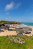 Rocky North Cornwall coast Harlyn Bay England UK near Padstow and Newquay and on the South West Coast Path in spring with blue sky and sea — Stock Photo