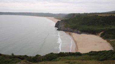 Three Cliffs Bay south coast the Gower Peninsula Swansea Wales uk — Stock Video