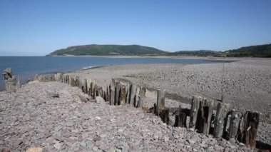 Porlock Weir beach Somerset on the Exmoor Heritage coast England UK in summer on the south west coast path — Stock Video