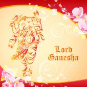 Lord Ganesha on floral backdrop — Stock Vector