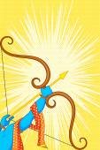 Rama with bow and arrow in Happy Dussehra Offer poster — Stockvektor