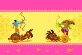 Rama killing Ravana in Happy Dussehra — Vector de stock
