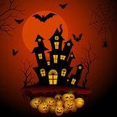Haunted horror house in Halloween night — ストックベクタ