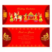 Indian wedding invitation card — Stock Vector