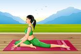 Lady practising yoga for wellness — Stock Vector