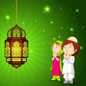 Muslim kids offering namaaz for Eid — Stock Vector