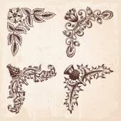 Hand Drawn Design Elements Corners Vintage — Stock Vector