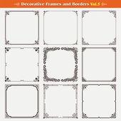 Decorative frames and borders set 5 vector — Stock Vector