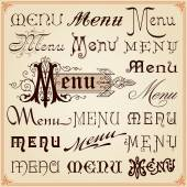 Menu Vintage Calligraphic Fonts Letterings Texts — Stock Vector