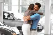 Couple Celebrating Purchase of a car In Car — Stock Photo