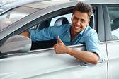 Happy Man inside Car of His Dream. — Foto Stock