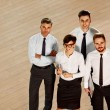 Business partners standing in hall — Stock Photo #70384873