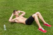 Outdoor abs excercise — Foto Stock