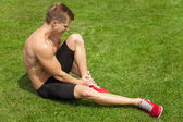 Leg injury during excercise — Foto Stock