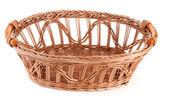 Empty wicker basket isolated — Stock Photo