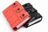 Orange and black leather notebooks — Stock Photo