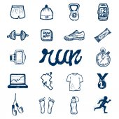 Run icons set in doodle style — Stock Vector
