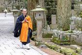 Shingon Monk in Okunoin Cemetery at Koya-san, Japan — Stock Photo