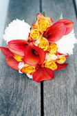 Red and white wedding bouquet — Stock Photo