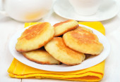 Fritters on white plate — Stock Photo