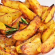 Fried potato wedges on white plate — Stock Photo #60845957
