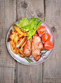 Pork steaks on rustic table, top view — Stock Photo