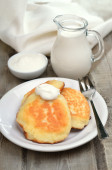 Fritters on rustic table — Stock Photo