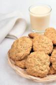 Homemade oatmeal cookies and milkshake — Stock Photo